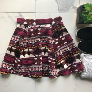 H&M Purple Patterned Mini Skirt